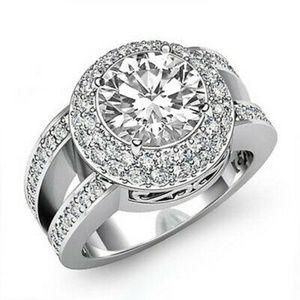 Elegant 925 Silver White Sapphire Wedding Ring New